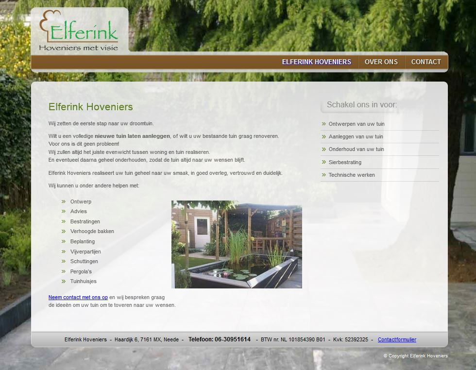 Website Elferink Hoveniers